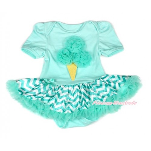 Aqua Blue Baby Bodysuit Jumpsuit Aqua Blue White Wave Pettiskirt with Aqua Blue Rosettes Ice Cream Print JS1884