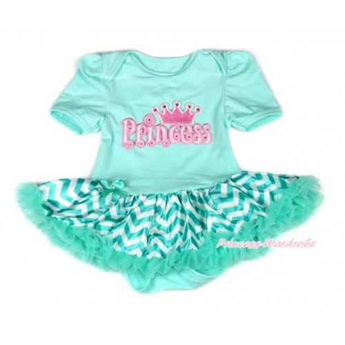 Aqua Blue Baby Bodysuit Jumpsuit Aqua Blue White Wave Pettiskirt with Princess Print JS1893