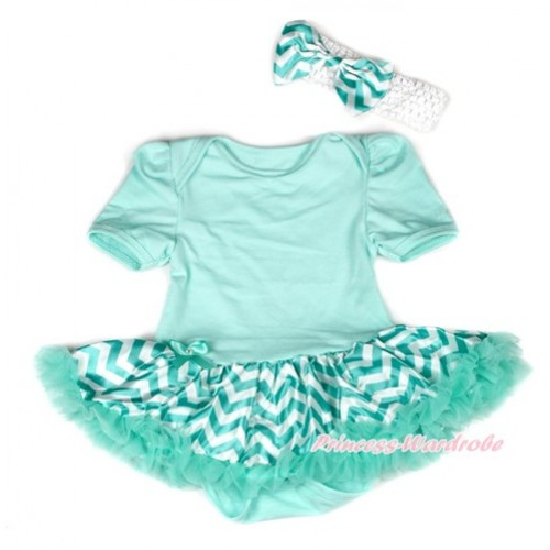 Aqua Blue Baby Bodysuit Jumpsuit Aqua Blue White Wave Pettiskirt With White Headband Aqua Blue White Wave Satin Bow JS1896