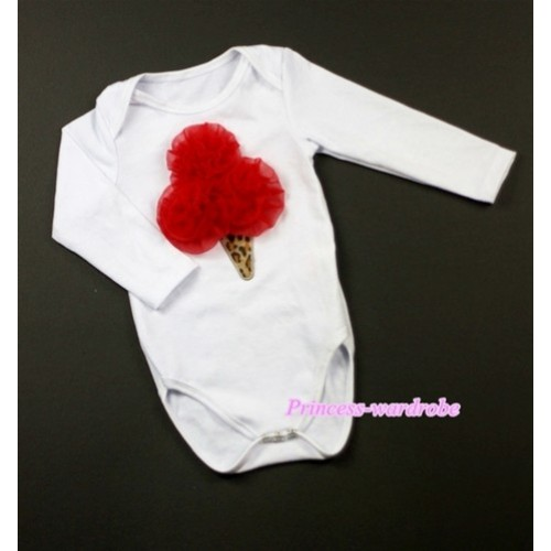 White Long Sleeve Baby Jumpsuit with Red Rosettes Leopard Ice Cream Print LS192