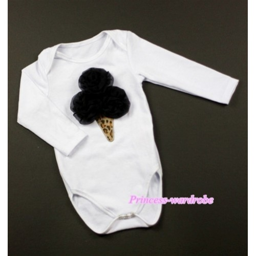 White Long Sleeve Baby Jumpsuit with Black Rosettes Leopard Ice Cream Print LS193