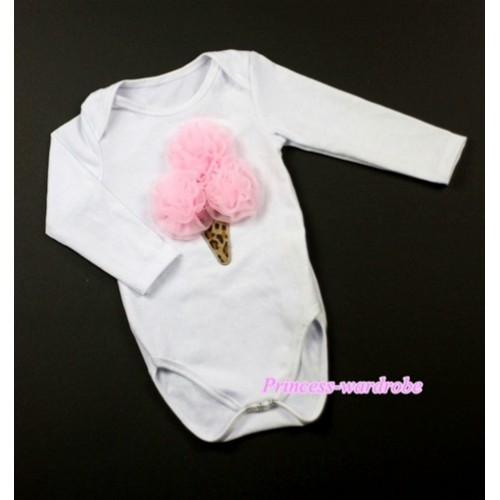 White Long Sleeve Baby Jumpsuit with Light Pink Rosettes Leopard Ice Cream Print LS195