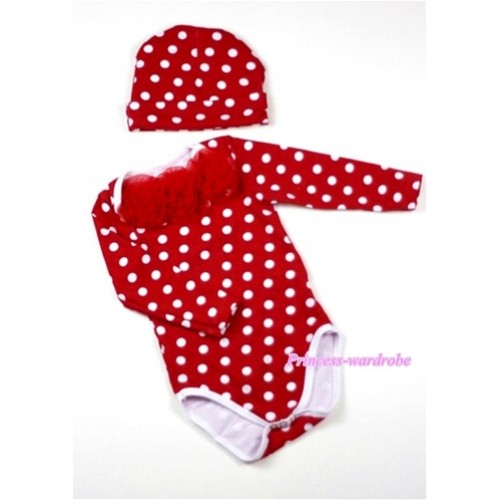 Minnie Polka Dots Long Sleeve Baby Jumpsuit with Red Rosettes with Cap Set LH105
