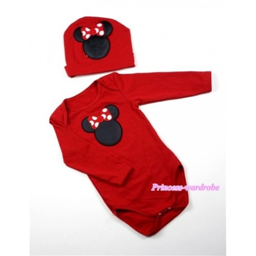 Hot Red Long Sleeve Baby Jumpsuit with Minnie Print with Cap Set LS51