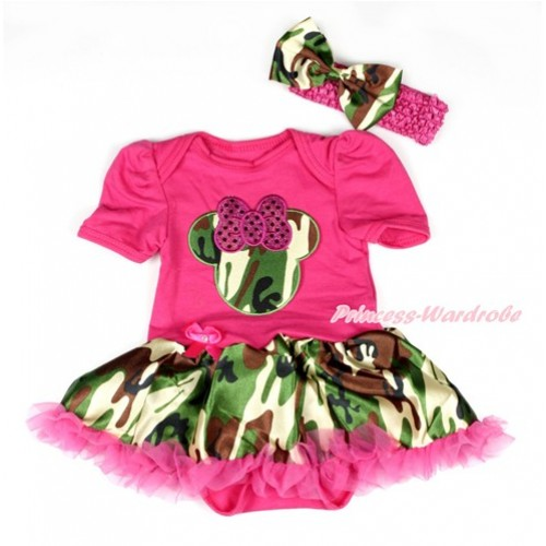 Hot Pink Baby Bodysuit Jumpsuit Hot Pink Camouflage Pettiskirt With Sparkle Hot Pink Camouflage Minnie Print With Hot Pink Headband Camouflage Satin Bow JS1935