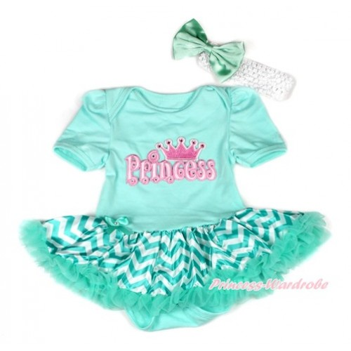 Aqua Blue Baby Bodysuit Jumpsuit Aqua Blue White Wave Pettiskirt With Princess Print With White Headband Aqua Blue Satin Bow JS1937
