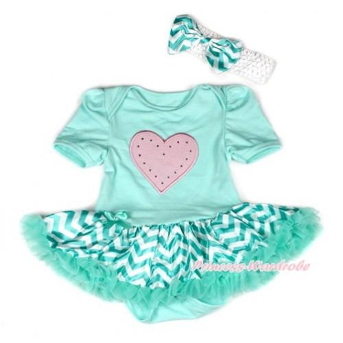 Aqua Blue Baby Bodysuit Jumpsuit Aqua Blue White Wave Pettiskirt With Light Pink Heart Print With White Headband Aqua Blue White Wave Satin Bow JS1939
