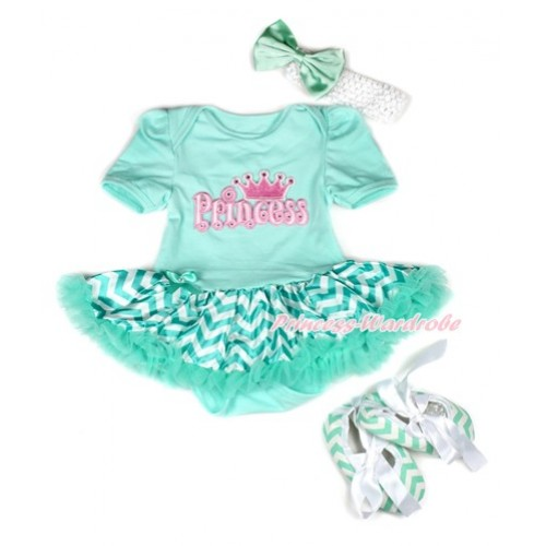 Aqua Blue Baby Bodysuit Jumpsuit Aqua Blue White Wave Pettiskirt With Princess Print With White Headband Aqua Blue Satin Bow With Aqua Blue White Wave Ribbon Shoes JS1950