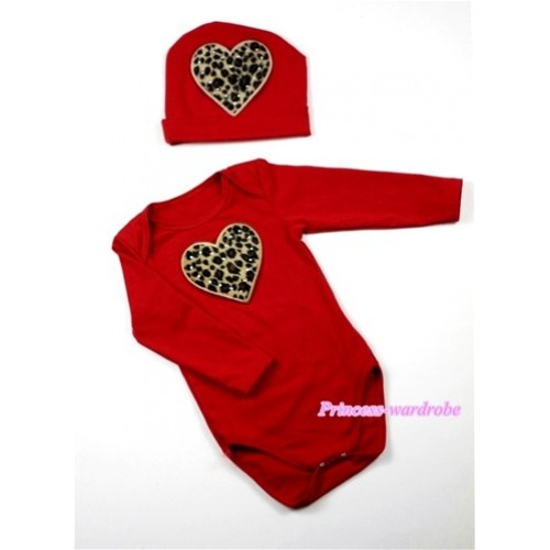 Hot Red Long Sleeve Baby Jumpsuit with Leopard Heart Print with Cap Set LS61
