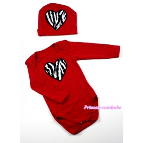 Hot Red Long Sleeve Baby Jumpsuit with Zebra Heart Print with Cap Set LS62