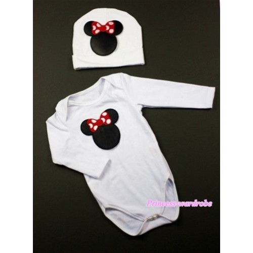 White Long Sleeve Baby Jumpsuit with Minnie Print with Cap Set LS80