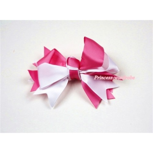 Hot Pink White Screwed Ribbon Bow Hair Clip H401