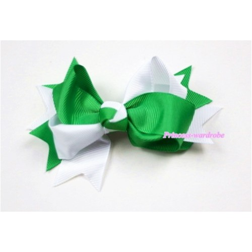 Green White Screwed Ribbon Bow Hair Clip H402