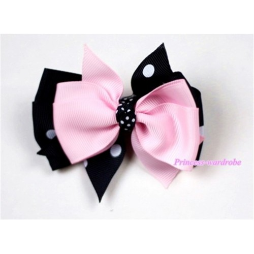 Light Pink & Black White Polka Dots Ribbon Bow Hair Clip H406