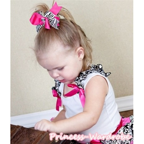 White Tank Top & Damask Ruffles & Hot Pink Bow NT114-1