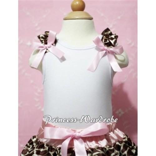 White Baby Tank Top & Giraffe Ruffles & Light Pink Bow NT100-1