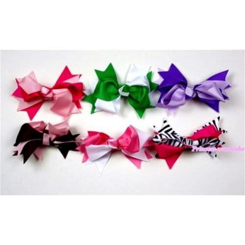 LOT 6 Silk Hair Bow Clip H443