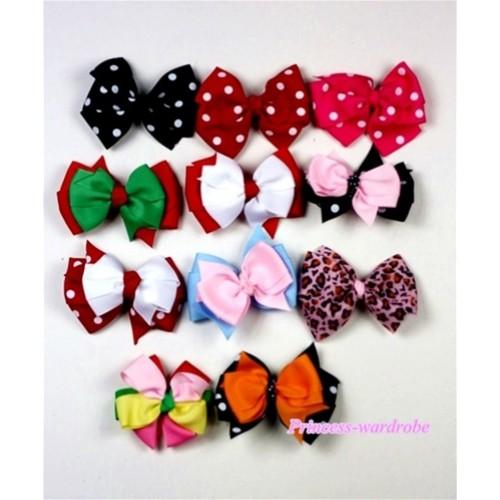 Lot 11 Ribbon Hair Bow Clip  H445