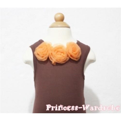 Brown Baby Pettitop & Orange Rosettes NT65