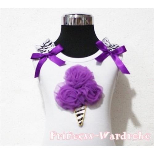 Dark Purple Zebra Ice Cream White Tank Top with Zebra Ruffles and Dark Purple Ribbon TB110