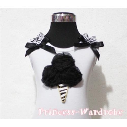 Black Zebra Ice Cream White Tank Top with Zebra Ruffles and Black Ribbon TB112