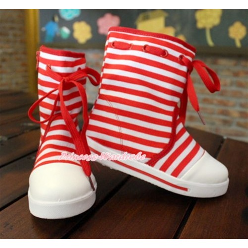 Xmas Hot Red White Striped Canvas Sneakers Shoes Laces Mid Calf Children Boot C-6Red