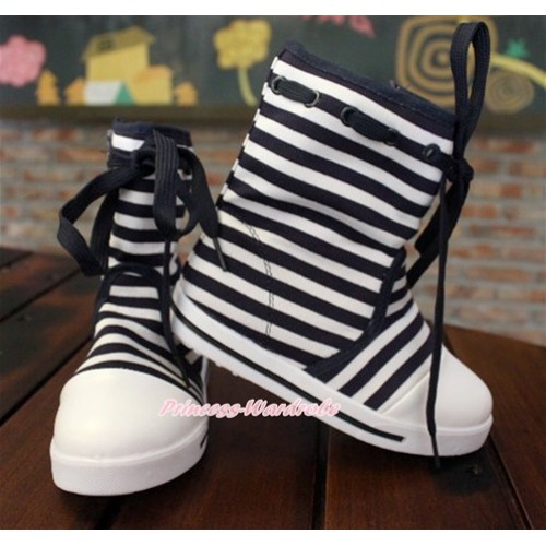 Black White Striped Canvas Sneakers Shoes Laces Mid Calf Children Boot C-6Black
