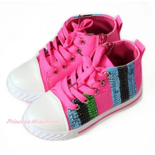 Hot Pink Blue Green Black Striped Sparkle Sequin Canvas Flat Ankle Boot Sneaker A-6Hotpink