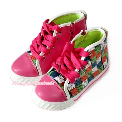 Hot Pink Blue Green White Orange Checked Sparkle Sequin Canvas Flat Ankle Boot Sneaker A-8Hotpink