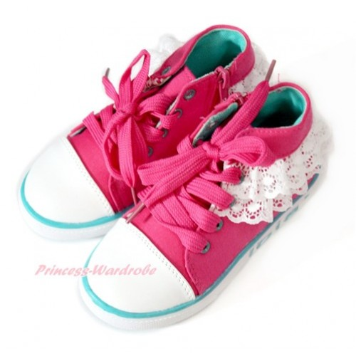 Hot Pink White Lace Canvas Flat Sneaker A-11Hotpink