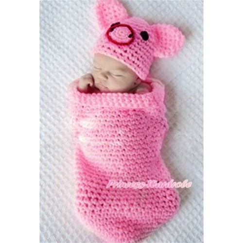 Hot Pink Piglet Photo Prop Crochet Newborn Baby Custome C205