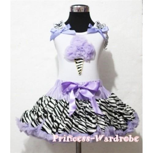 Lavender Zebra Pettiskirt With Lavender Rosettes Zebra Ice Cream White Tank Top with Zebra Ruffles&Lavender Bow MT04