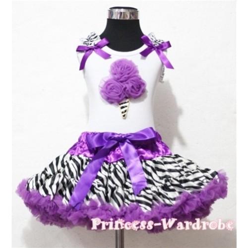 Dark Purple Zebra Pettiskirt With Dark Purple Rosettes Zebra Ice Cream White Tank Top with Zebra Ruffles & Dark Purple Bow MT03