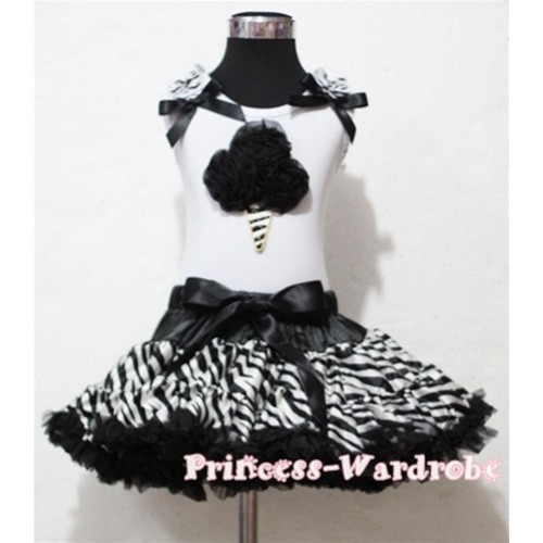 Black Zebra Pettiskirt With Black Zebra Rosettes Zebra Ice Cream White Tank Top with Zebra Ruffles&Black Bow MT05