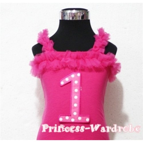 1st Hot Pink Polka Dots Hot Pink Spaghetti Strap Ruffle Pettitop Top TM100