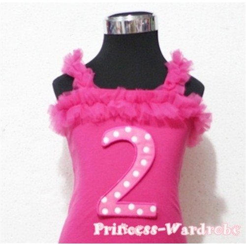 2nd Hot Pink Polka Dots Hot Pink Spaghetti Strap Ruffle Pettitop Top TM101