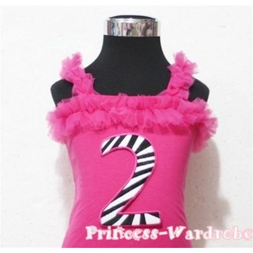 2nd Hot Pink Zebra Printing Spaghetti Strap Ruffle Pettitop Top TM104