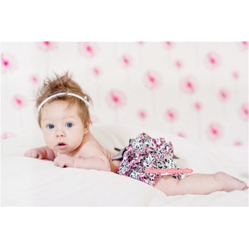 Grey Leopard Layer Panties Bloomers with Cute Big Bow BC120