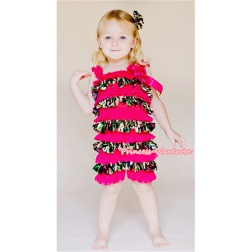 Camouflage Hot Pink Layer Chiffon Romper with Hot Pink Bow & Straps LR117
