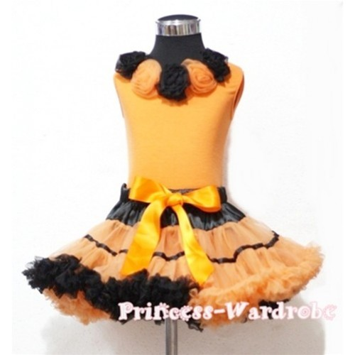 Black Orange Trim Pettiskirt with Black Orange Rosettes Orange Tank Top MN15