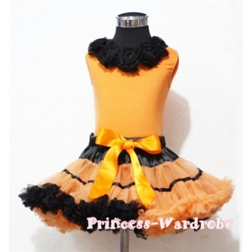 Black Orange Trim Pettiskirt with Black Rosettes Orange Tank Top MN16