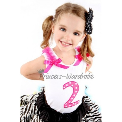2nd Birthday White Tank Top with Hot Pink White Polka Dots Print number with Hot Pink Ribbon and ruffles TM48
