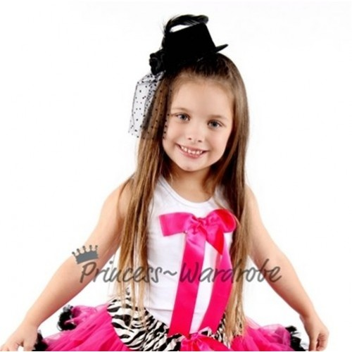 White Pettitop with Cute Hot Pink Big Bow TM111