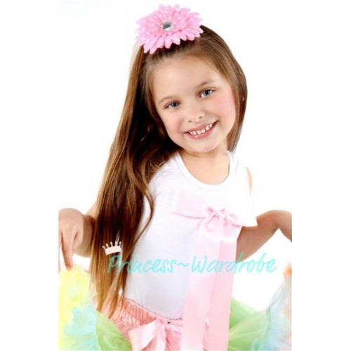 White Pettitop with Cute Light Pink Big Bow TM110