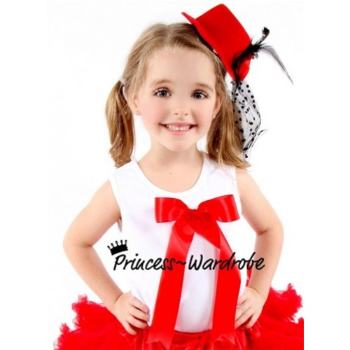 White Pettitop with Cute Red Pink Big Bow TM112