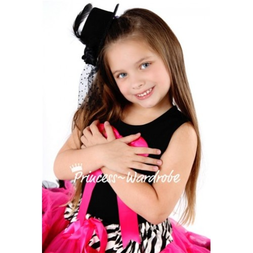 Black Pettitop with Cute Hot Pink Big Bow TM121