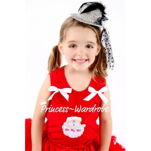 Christmas Santa Claus Red Tank Top with White Ribbon TN75