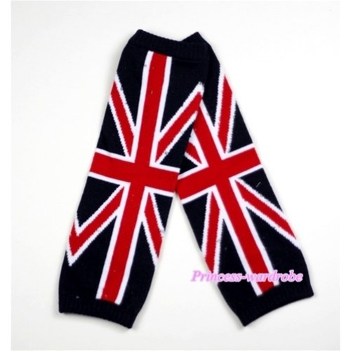 Newborn Baby Black British Flag Leg Warmers Leggings LG158