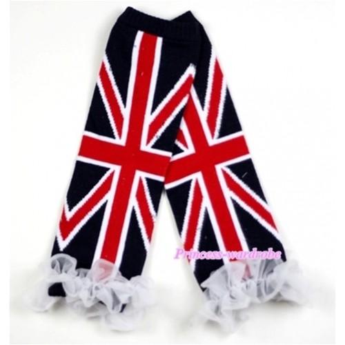 Newborn Baby Black British Flag Leg Warmers Leggings with White Ruffles LG161