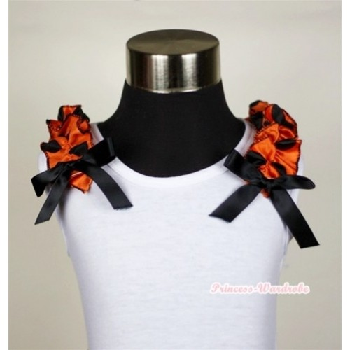 White Tank Top with Black Ribbon and Orange Black Polka Dots ruffles T470